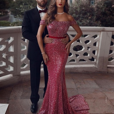 Sparkly Sequined Off-Shoulder Mermaid Prom Dress_2
