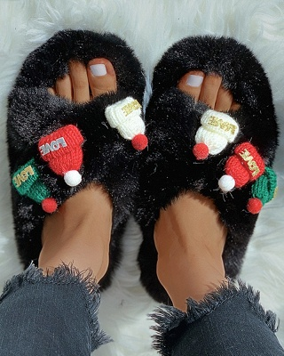 Christmas Pattern Cross Fluffy Slippers_7