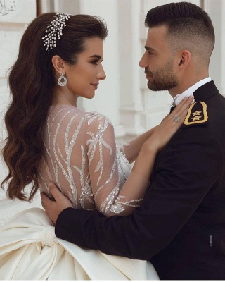 Ball Gown Satin Long Sleeves Lace Wedding Dress with Bow_3