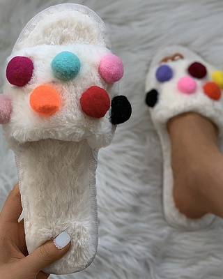 Pom Pom Colorblock Fluffy Slippers_8
