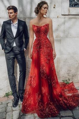 Floor Length Tulle Sweetheart Floral Partten Prom Dresses_2