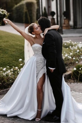 Sexy Satin Lace Sweetheart Wedding Dress with Overskirt_1