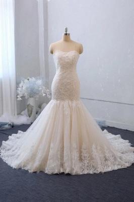 Cheap White Lace Wedding Gowns Sleeveless Mermaid Bridal Wear_1