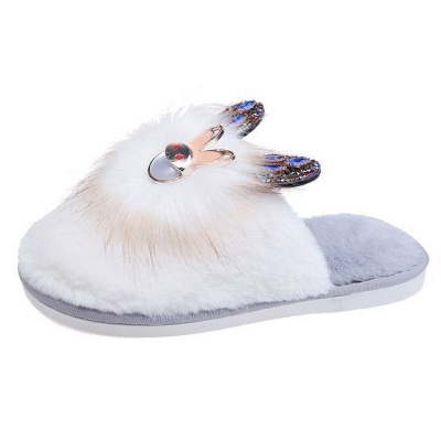 Rabbit Pattern Studded Fluffy Slippers_4
