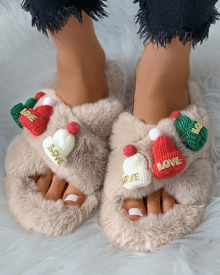 Christmas Pattern Cross Fluffy Slippers_13