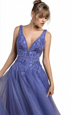Cheap Floor Length Deep V Neck Lace Tulle Prom Dresses_3