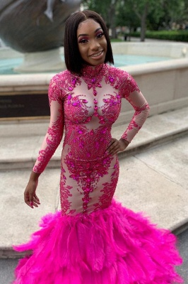 Long Sleeve Crystals Mermaid Evening Gowns Appliques Prom Dress_2