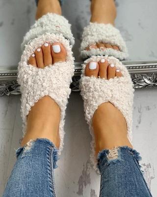 Solid Fluffy Crisscross Design Flat Sandals_17
