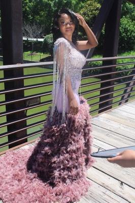 Sparkly Sleeveless Mermaid Prom Dress Glitter Feather Sweep Train_1