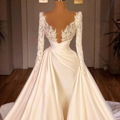 Chic Long Sleeves Satin Tulle Wedding Dress with Ruffles_5