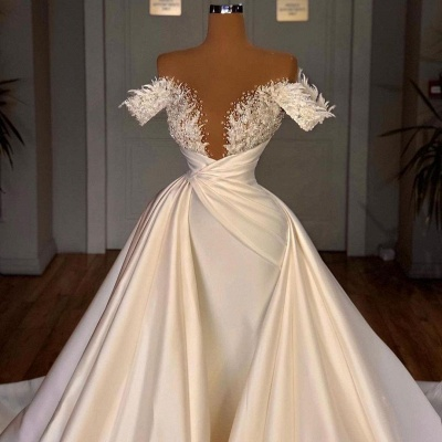 Chic Long Sleeves Satin Tulle Wedding Dress with Ruffles_6
