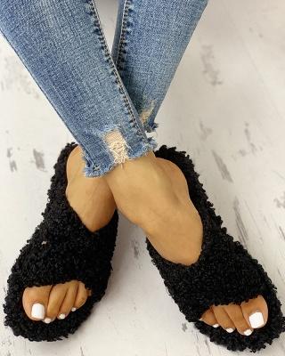 Solid Fluffy Crisscross Design Flat Sandals_14