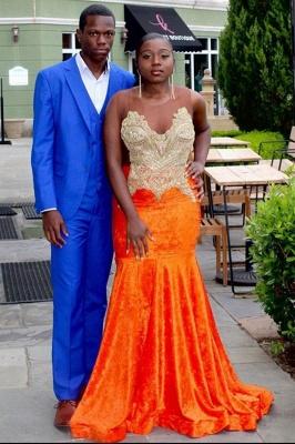 Sweetheart Appliques Organe Prom Dress Mermaid Evening Maxi Dress_2