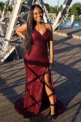 Glitter Sequins Spaghetti Prom Dresses Splitfront Cocktail Party Dress_2