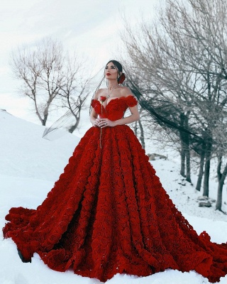 Off the Shoulder 3D Floral Printed Ball Gown Prom Dresses for Girl_8