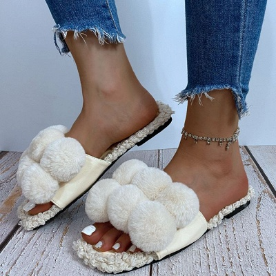 Villus Fluffy Casual Flat Sandals_1
