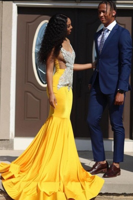 Yellow Sleeveless Mermaid Evening Prom Dresses Lace Appliques_2