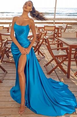 Sexy Sleeveless Blue Prom Dresses Evening Party Dresses_1