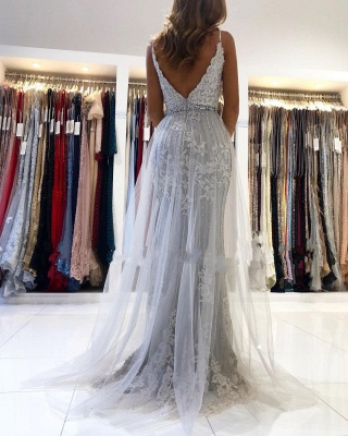 Sexy Sweetheart Lace Tulle Prom Dresse Split Mermaid Gowns_2