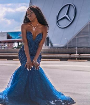 Sweetheart Tulle Mermaid Evening Gowns Sleeveless_4