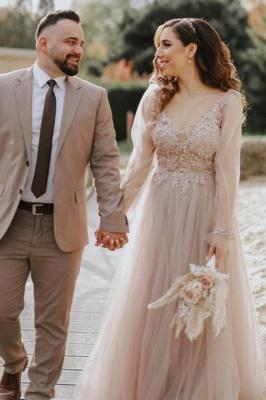 Elegant Floor Length Lace Tulle V Neck Wedding Gowns_1