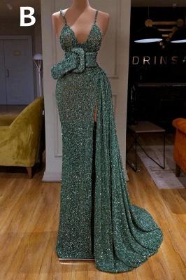 Glitter Off the Shoulder Slim Mermaid Prom Dress Sleeveless Mermaid Evening Gowns_3