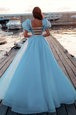 Sky Blue Princess Prom Dresses Short Sleeve Mermaid Evening Gowns_2