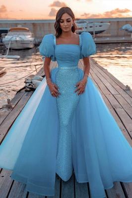 Sky Blue Princess Prom Dresses Short Sleeve Mermaid Evening Gowns_1