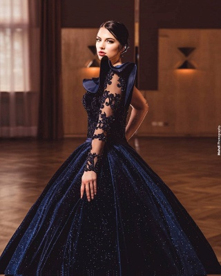 Gorgeous A Line Dark Purple Ball Gowns One Shoulder Prom Dresses_3