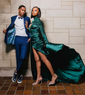 Sexy Dark Green Appliques Side Split Prom Dress Long SLeeve_4