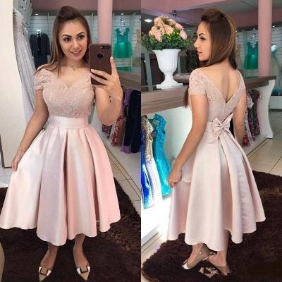 Stylish Satin V-Neck Sleeveless Lace Tea Length Prom Dress_2