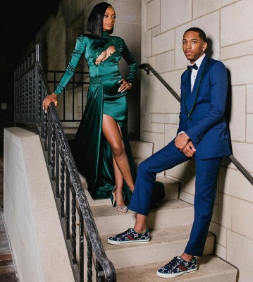 Sexy Dark Green Appliques Side Split Prom Dress Long SLeeve_6
