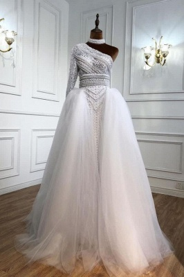 Stylish One-Shoulder Tulle Lace Prom Dress with Pearls_1
