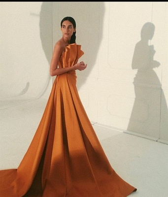 Floor Length Sleeveless Orange Prom Dresses Slim Evening Gowns_1