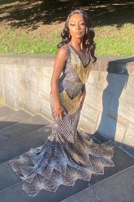V-Neck Pattern Slim mermaid Prom Gown Sleeveless Long Gowns online_2