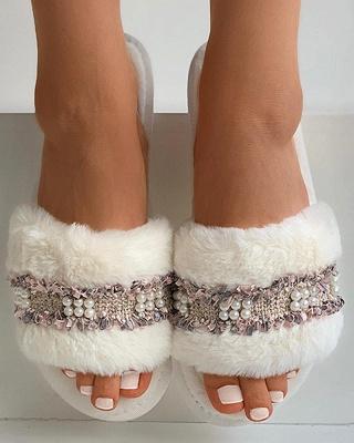 Fringe Beaded Fluffy Slippers_1