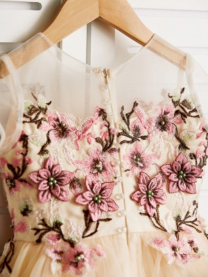 Cute Jewel Tulle Lace Satin Sleeveles Flower Girl Dress_5