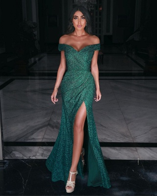 Charming Off Shoulder Prom Gown Side Split Evening Maxi Dress_2