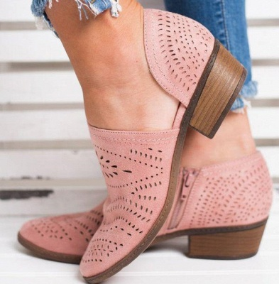 Hollow-out Low Heel Summer Faux Suede Boot On Sale_1