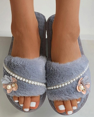 Floral Pattern Beaded Fluffy Slippers_3
