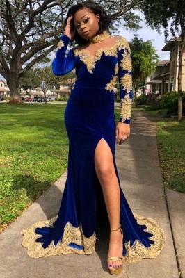 Gold Prom Dress Royal Blue Velvet Long Sleeve Mermaid Evening Gowns_3