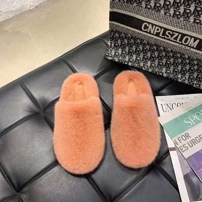 Plain Close Toe Fluffy Slippers_2