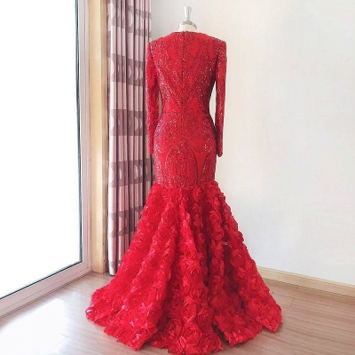 Elegant Mermaid Long Sleeves Lace Red Prom Dress with 3D FLowers_2