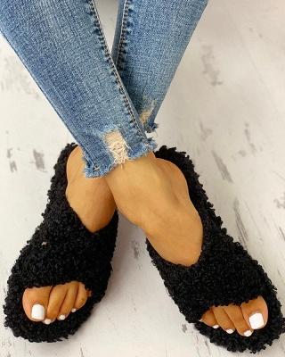 Solid Fluffy Crisscross Design Flat Sandals_13