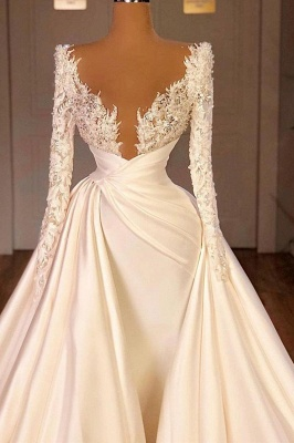 Chic Long Sleeves Satin Tulle Wedding Dress with Ruffles_2