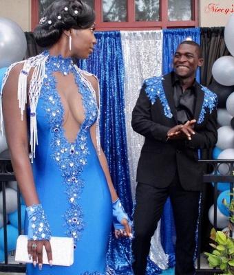 Satin Halter Prom Dress V-Neck Mermaid Evening Gowns Sleeveless Crystals_4
