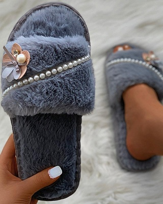 Floral Pattern Beaded Fluffy Slippers_10