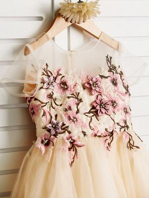 Cute Jewel Tulle Lace Satin Sleeveles Flower Girl Dress_4