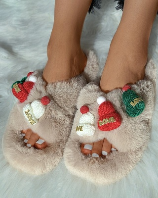 Christmas Pattern Cross Fluffy Slippers_1