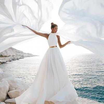 Chic A-Line Chiffon High-Neck Sleeveless Wedding Dress_2